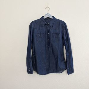 Escada Sport Chambray Jean Button Down Pocket Top